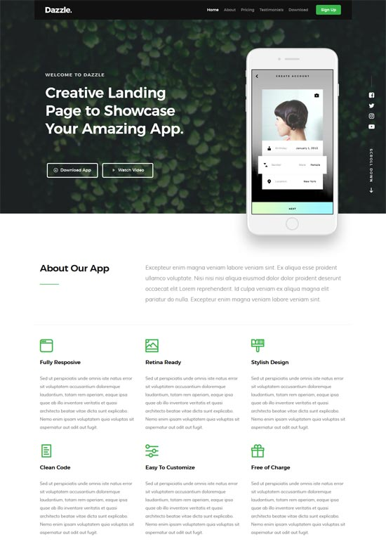A mobile application beautiful free bootstrap template