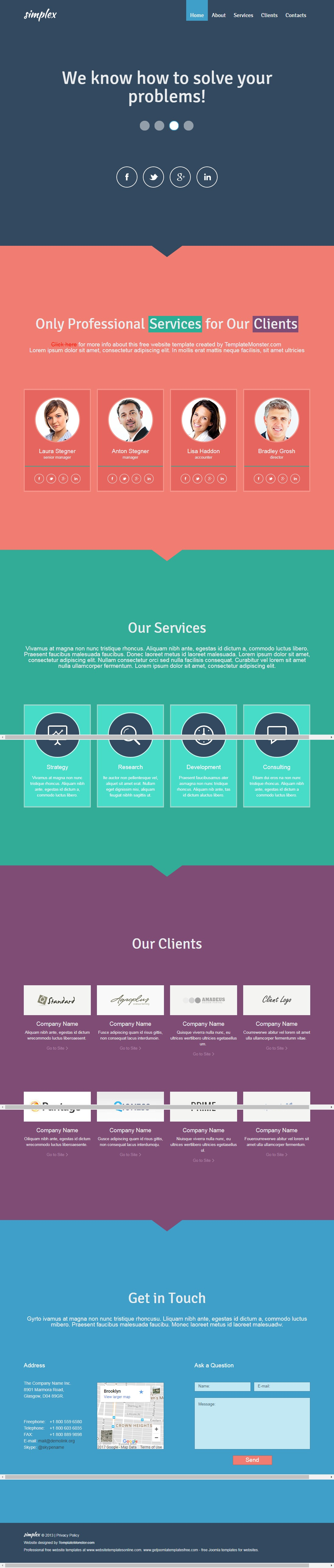 one page web template