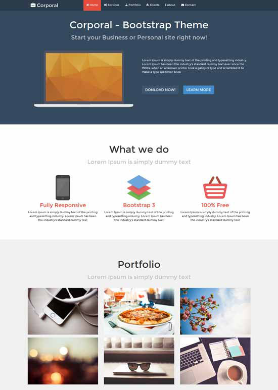A Clean Free Onepage Business Theme which is built-with Bootstrap