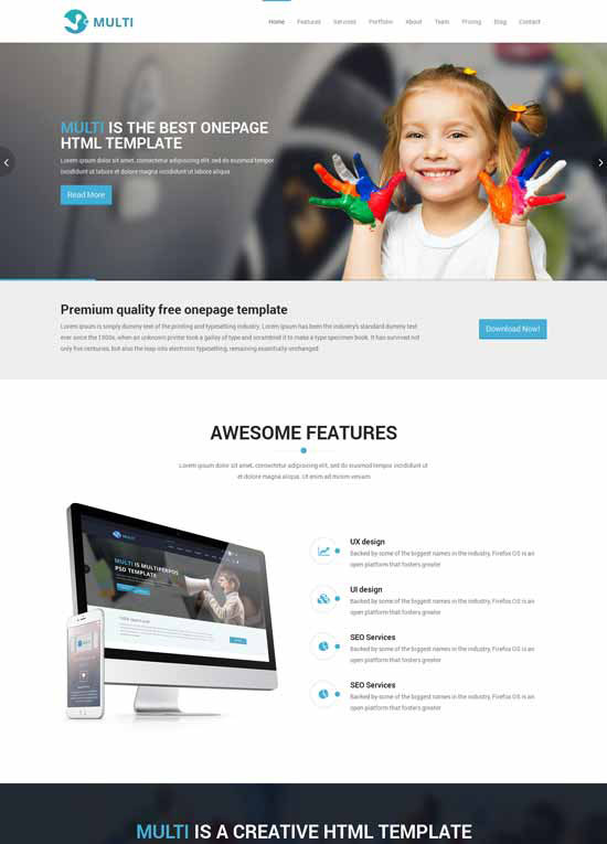 Multi free responsive onepage html template maxwellsz