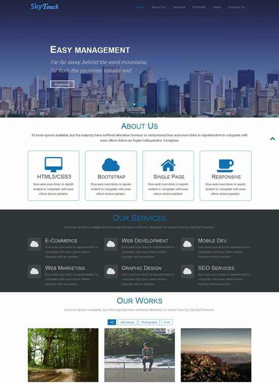 one page web templates