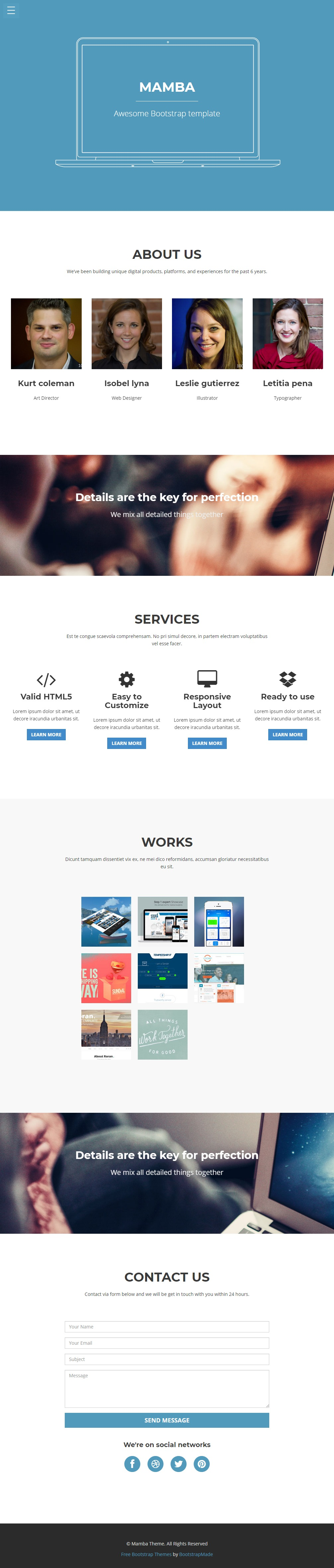 Mamba--Free-Bootstrap-3-one-page-template