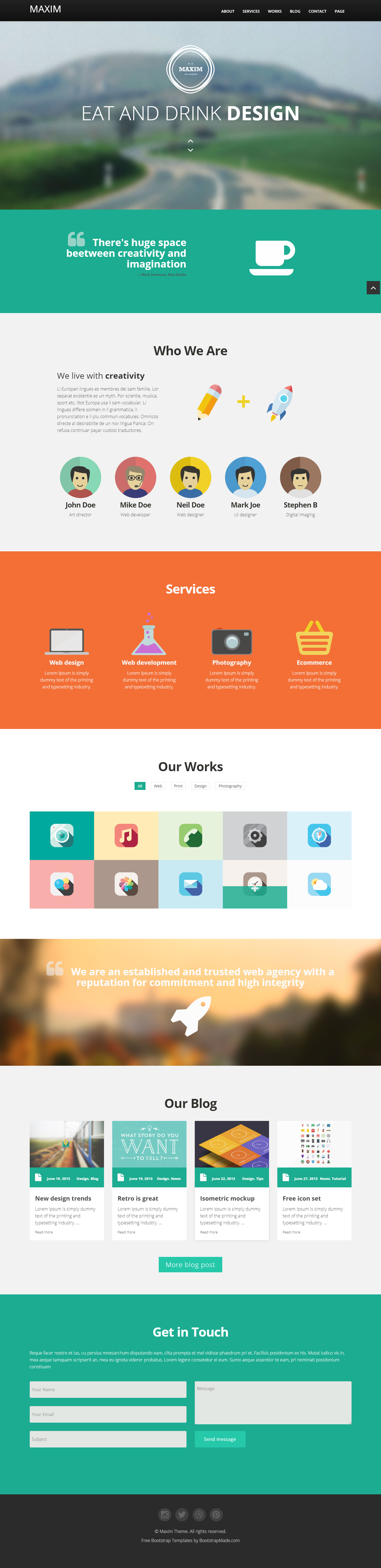modern and stylish bootstrap one page site template