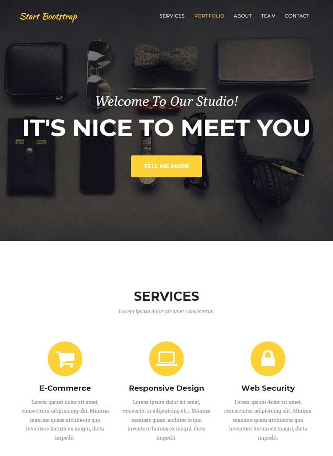 A clean and stylish one page Bootstrap portfolio theme
