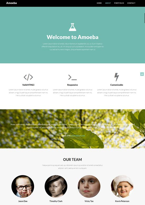 One page site template built from Bootstrap 3 with modern flat style