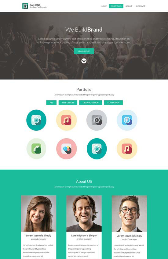 A single page free corporate Flat Responsive web design template
