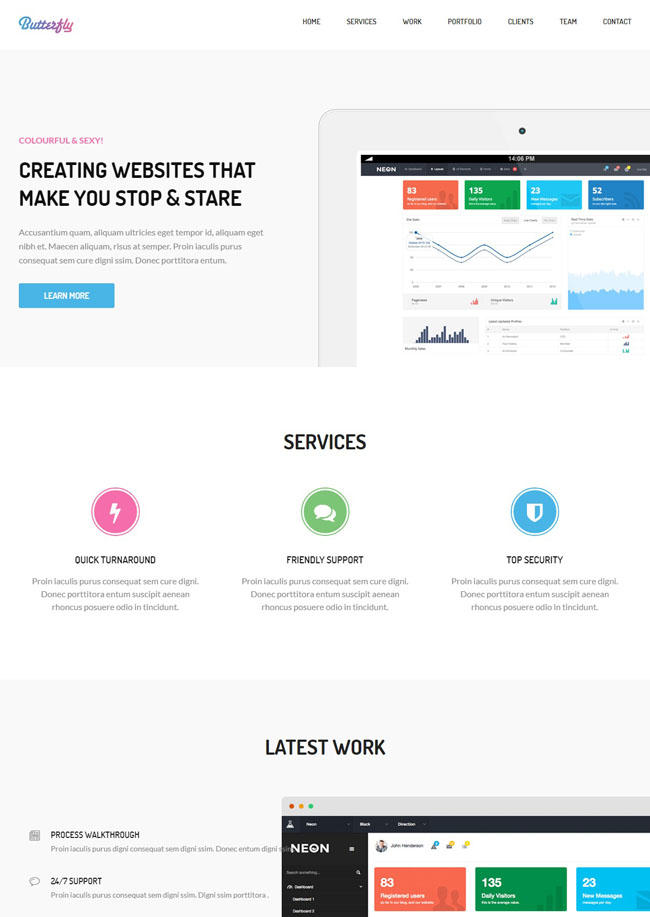 A brilliant onepage theme for a business startup who would like to showcase a featured section