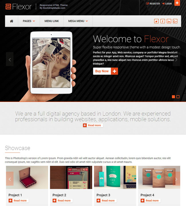 A multiple purpose Bootstrap theme best suitable for creative agencies
