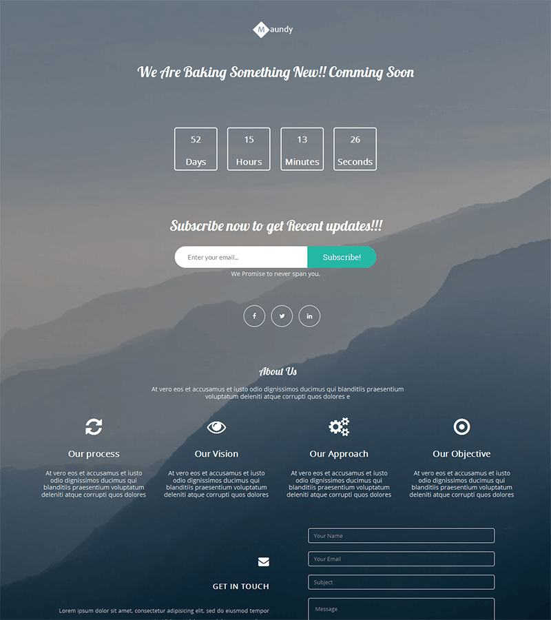 clean and mobile friendly bootstrap coming soon template