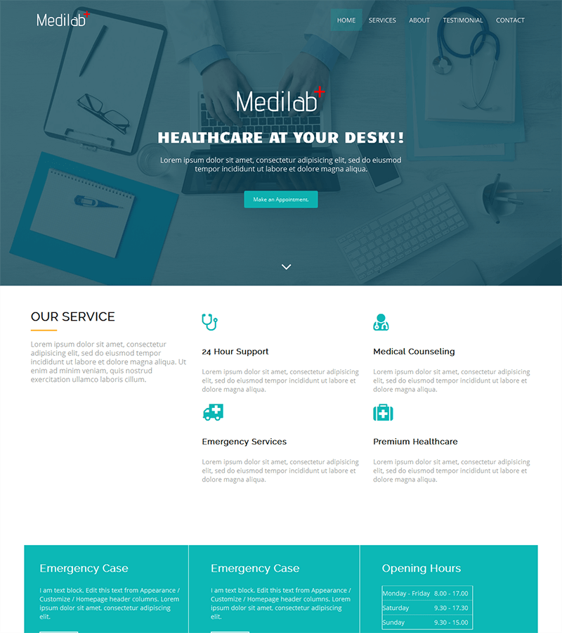 A clean responsive bootstrap template perfect for hospital and health