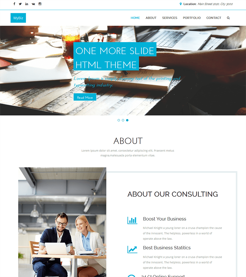 A clean and elegant free HTML5 bootstrap theme for business