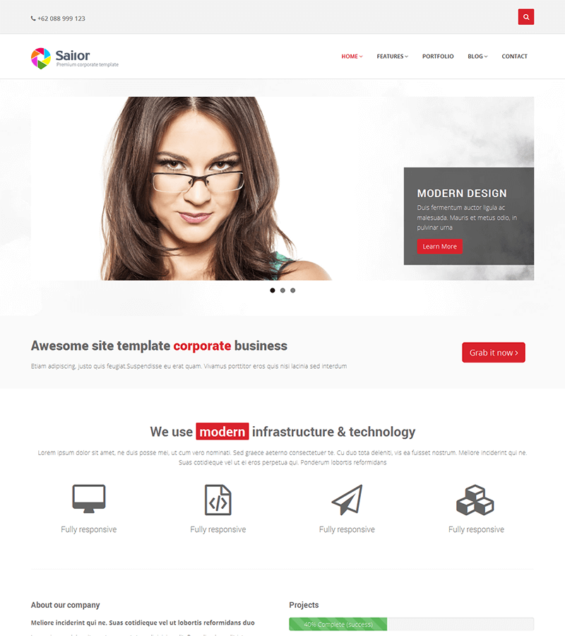 A responsive HTML site template for corporate business