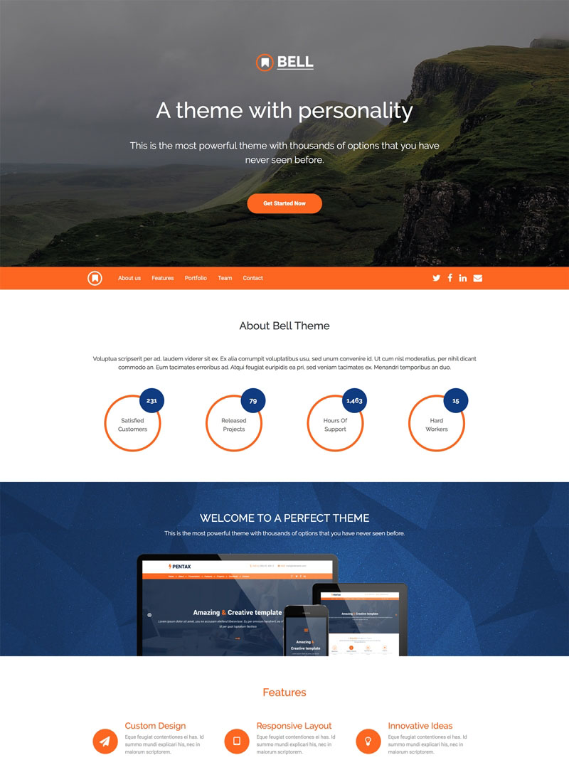 A single page Bootstrap 4 theme