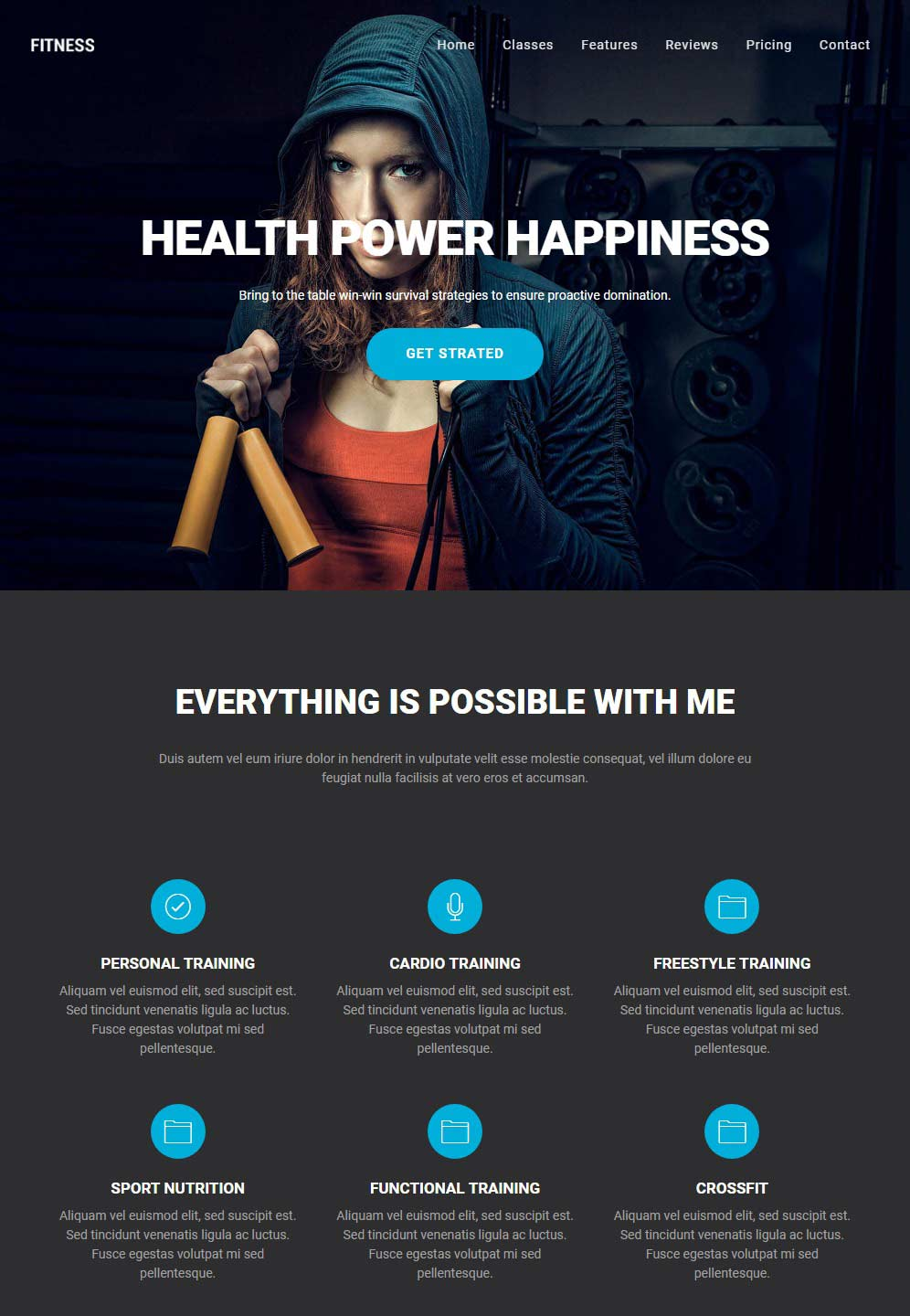 One Page Fitness and Gym HTML Theme